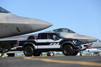 2017 F-22 F-150 Raptor alongside F-22 side view