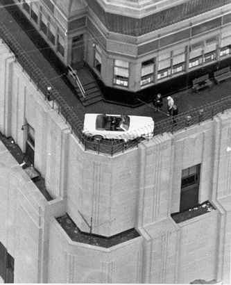 1966 Mustang atop the worlds tallest building
