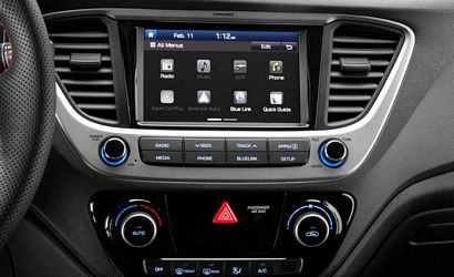 2018 Hyundai Accent center stack and optional touchscreen detail