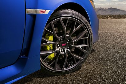 2018 Subaru WRX STI wheel and brake caliper detail