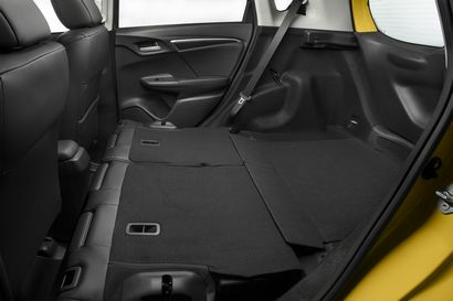 2018 Honda Fit rear seats folded showing storage room