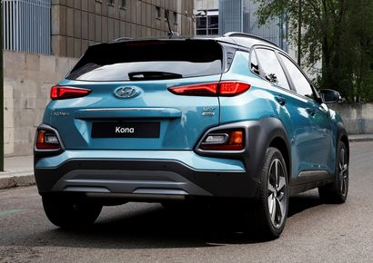 2018 Hyundai Kona rear 3/4 view