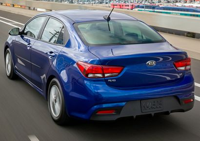 2018 Kia Rio sedan rear 3/4 view