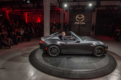 2017 Mazda MX-5 Miata RF intro side view, top down