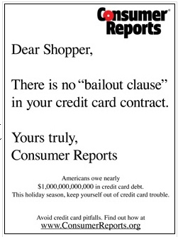 CR Warns of Holiday Credit Card Debt