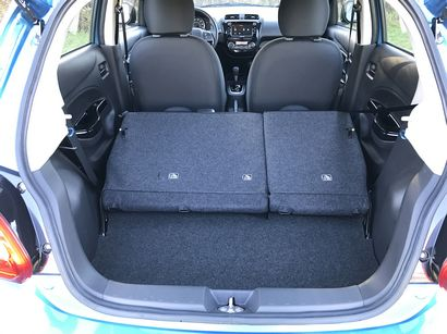 2017 Mitsubishi Mirage GT cargo area with seats folded